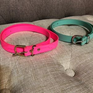 H&M duo belt in pink and green